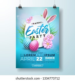Vector Easter Party Flyer Illustration with painted eggs, rabbit ears and flower on nature blue background. Spring holiday celebration poster design template.