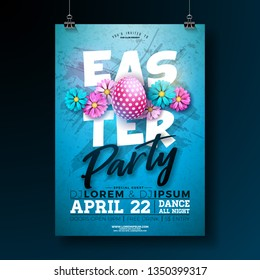 Vector Easter Party Flyer Illustration with painted eggs and flower on blue background. Spring holiday celebration poster design template.