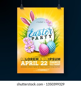 Vector Easter Party Flyer Illustration with painted eggs, rabbit ears and flower on shiny yellow background. Spring holiday celebration poster design template.