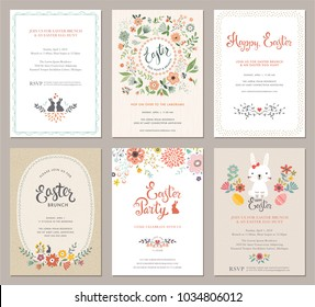 Vector Easter Party Invitations and Greeting Cards with eggs, flowers, floral wreath, rabbit and typographic design on the textured background.