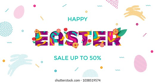 Vector Easter sale banner of paper cut text lettering with spring cherry and tulip flowers. Papercut Easter poster with modern colored egg and bunny pattern on white background for banner template