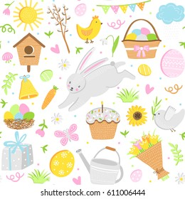 Vector easter seamless pattern. Cute background