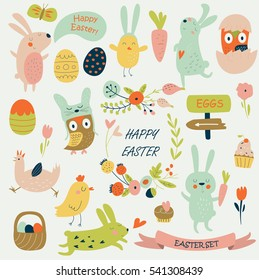 Vector Easter set with cute bunnies, chickens, owls and eggs in cartoon style