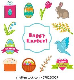 Vector Easter set. Happy Easter. Vector illustration