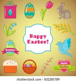Vector Easter set. Happy Easter Set. Vector illustration