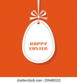 Vector Easter tag. Egg banner with ribbon and bow. Festive background. Decorative illustration for print, web