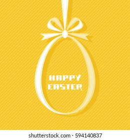 Vector Easter tag. Egg banner from yellow ribbon and bow. Festive background. Decorative illustration for print, web