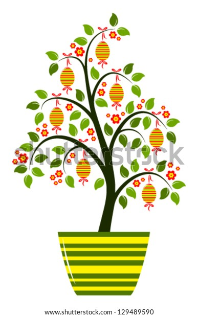vector easter tree in pot isolated on white background