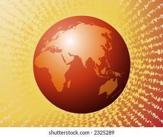 Vector eastern hemisphere orange
