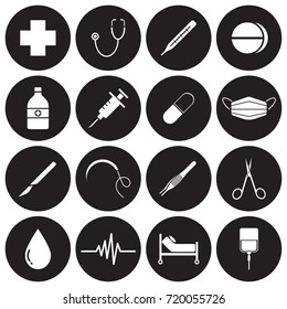Vector Easy-To-Use 16 White Medical Flat Icons In Front Of Black Circles On White Background Categorized Into Four Groups, Check up, Pharmaceutical, Surgery, And Healing.