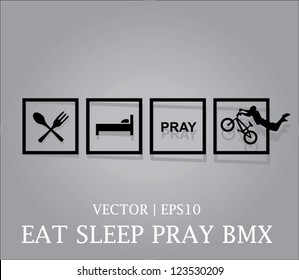 Vector eat sleep pray BMX icon christian youth Bible  sports | EPS10