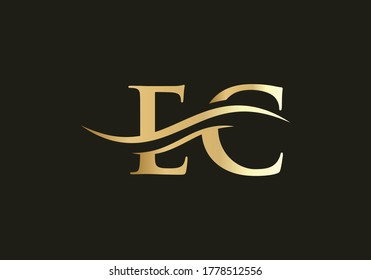 Vector EC Logo. Beautiful Logotype for luxury branding. Elegant and stylish design for your company in gold color.
