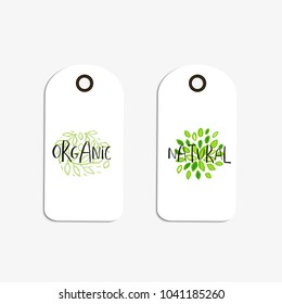 Vector eco badge or tag, bio green logo. Vegan sign for cafe, restaurants, products packaging. Hand drawn leaves, branches, plant elements with lettering. Organic design template.