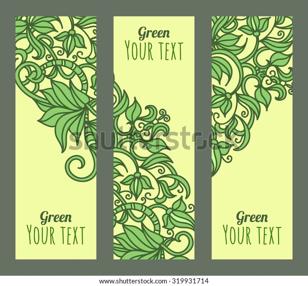 Vector eco banners set with green plants. Decorative header design