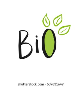 Vector eco, bio green logo or sign. Vegan, raw, healthy food badge, tag for cafe, restaurants, products packaging. Hand drawn leaves, branches, plant elements with lettering. Organic design template.