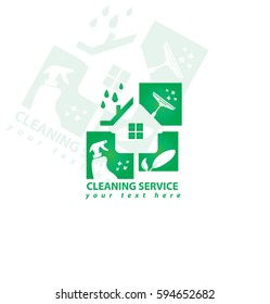 Vector Eco Cleaning House Business Logo