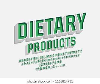 Vector Eco Emblem Dietary Products with 3D Font. Green and White Alphabet Letters, Numbers and Symbols.