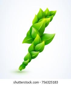 Vector eco energy flash illustration. Green leaves