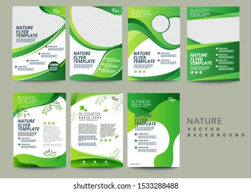 Vector eco flyer, poster, brochure, magazine cover template. Modern green leaf, environment design set - Vector