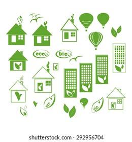 Vector eco icons set on white background. Ecological signs vector set. Eco symbol set. Green Eco icons. Eco house symbols set.