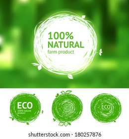 Vector eco labels with sketch drawing design elements