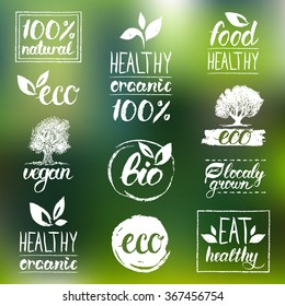 Vector eco, organic, bio logos. Handwritten healthy eat logotypes set. Vegan, natural food and drinks signs. Farm market, store icons collection. Raw meal badges, labels.
