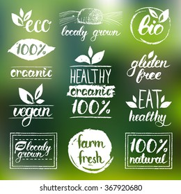 Vector eco, organic, bio logos. Handwritten healthy eat logotypes set. Vegan, natural food and drink signs. Farm market, store icons collection. Raw meal badges, labels.
