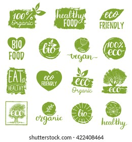 Vector eco, organic, bio logos or signs. Vegan, healthy food badges, tags set for cafe,restaurants, packaging etc.