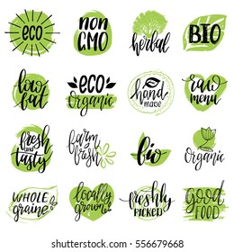 Vector eco, organic, bio logos or signs. Vegan, healthy food illustrations set  for cafe, restaurant badges, tags, packaging etc.