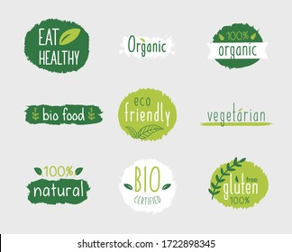 Vector eco stickers, organic, bio logos or signs. Vegan, raw, healthy food badges, tags set for cafe, restaurants, products packaging etc.