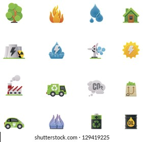 Vector ecology and environment preservation icon set. Includes symbols, representing major issues - garbage, factories pollutions, forest wildfires, flood, power  generation and other