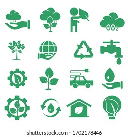 Vector ecology icon. Green ecological icon with a flat style. icon ecology set. Vector editable