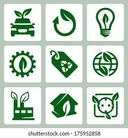 Vector ecology icons set