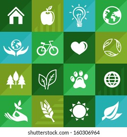 Vector ecology icons and signs in flat retro style - go green