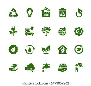 Vector Ecology and Industry Related Vector Icon Set