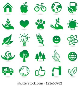 Vector ecology signs and icons - eco friendly design elements