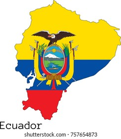 Vector Ecuador  map silhouette, painted in colors of a national flag