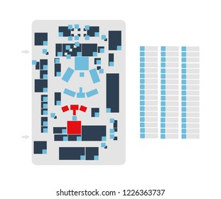 Vector editable floor plan with fields for logos or titles isolated on a white background. Suitable as a map of campus, office, production hall, festival, shopping mall, work place, event and more.
