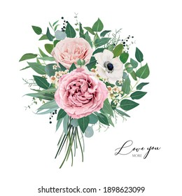 Vector, editable floral watercolor style bouquet illustration. Stylish, elegant mauve, dusty pink garden roses, anemone, lovely, creamy wax flowers, greenery eucalyptus leaves, green herbs and berries