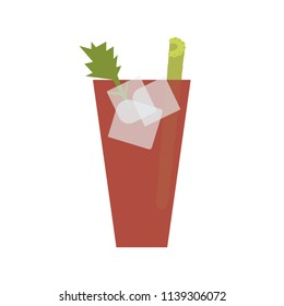 Vector editable illustration of a cocktail glass of Bloody Mary / Caesar with celery, ice and a green leaf.