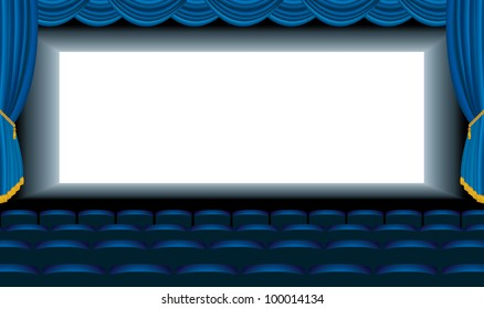 vector editable illustration of the empty blue cinema with free bottom layer for your image
