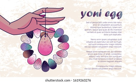 Vector editable illustration. Yoni eggs arranged into heart shape. Woman's hand holding a drilled egg on a string