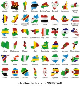 vector editable isolated african flags in map shape with details