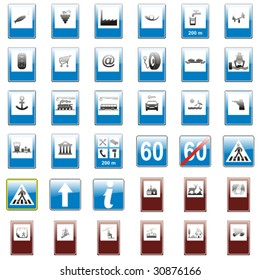 vector editable isolated european road signs with details