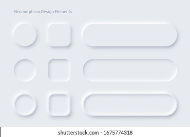 Vector editable neomorphic buttons set. Sliders for  websites, mobile menu, navigation and apps. Simple elegant Neomorphism trendy 2020 designs element UI components isolated on white background