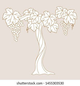Vector editable stroke illustration of viw with grapes