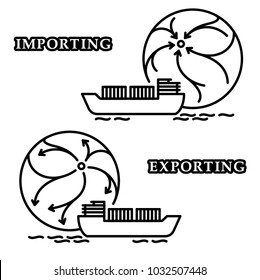 Vector editable stroke line designed pictograms visualizing the concept of import and export by sea with cargo ship