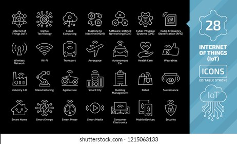 Vector editable stroke line internet of things icon set on a black background with wireless network and cloud computing digital IoT technology. Smart home, city, healthcare, business thin outline sign
