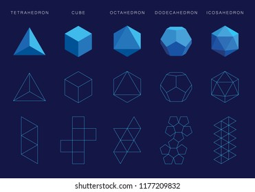 Vector editable stroke platonic solids on blue background