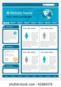 vector editable website template - blue color